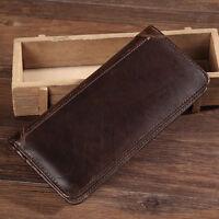 Men's Genuine Leather Long Wallet Card Case Purse Vintage Bifold Wallets