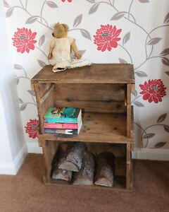 Vintage Cupboard Crate Box Shelf Wooden Rustic UNUSUAL RARE HEAVY