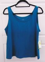 New Eileen Fisher Teal Organic Cotton Stretchy Tank Top sz L