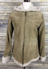 Adler Collection Suede Leather Jacket Tan Full Zip Hooded Sherpa Lining Women S