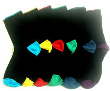 6 Pairs BOYS  SOCK/CONTRAST HEEL TOE  Cotton Rich Sock Assorted Colour 4-7