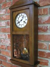 3pt8 ANTIQUE GERMANY JUNGHANS OAK WALL CLOCK BRASS PENDULUM CHIME