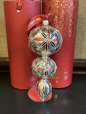 Waterford Holiday Heirlooms Lismore Multi-Tier Silver, Red,Green Spire Ornament