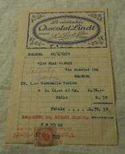Fattura LINDT  Fabbrica Cioccolato Caramelle 1930 FLLI FABBRI BOLOGNA RARA