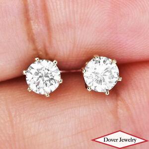 Estate 0.65ct Diamond 14K Gold Elegant Stud Earrings NR