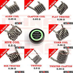 Ready Pre Made Wire Coils RTA RBA RDA Sub Ohm Kanthal  Built Alien Clapton Hiv