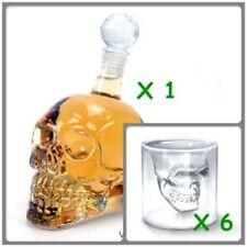 Kristall Schädel Weinglas Vodka Glas Flasche +6 Tassen Totenkopf Skull Gescheck
