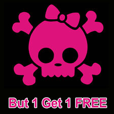 Girly Skull - Pink Skull Bones  car vinyl sticker decal window  Cute Buy 1 get 1