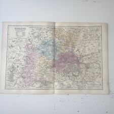 c1889 Middlesex British Isles Map Bacon Antique Vgc