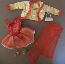 Barbie Fashionista Red Gold Short Ballet TUTU Dress Jacket sheer wrap outfit set