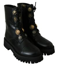 DOLCE & GABBANA Shoes Black Leather Gold Coin Ankle Boots EU35.5 / US5 RRP $1800