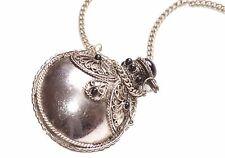 Arabian nights-chrome perfume bottle pendant chrome metal necklace(B4/A2)