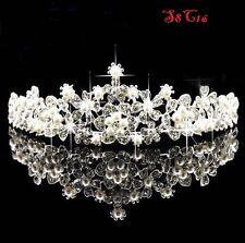 Crystal Silver Wedding Bridal Pearl Crown Tiara Hair Accessories Headband S8C16