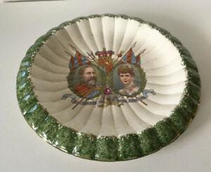 antike Obstschale Coronation King Edward VII & Queen Alexandra 9.8.1902 England