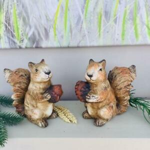 Red Squirrel Ornament Indoor Outdoor Sculpture Figure Holding Acorn or Pine Cone