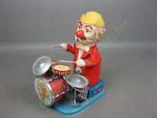 Vtg Charlie Drumming Clown Battery Operated Tin Litho Toy Cragstan Alps Japan NR