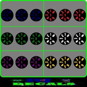 Black Dial Decals Set 5 (6 Colours) Delkim Txi Ev & Std Alarms