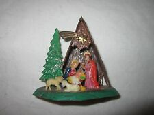 Christmas Holiday Vintage Mini Miniature Plastic Nativity Manger Display Scene