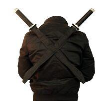 NEW 2 Pc Black Ninja Assassin Twin Swords Set Tactical Combat Blade w/ Sheath