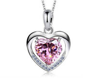 925 Sterling Silver Pendent Pink Heart Crystal Wedding Bridal Necklace N122