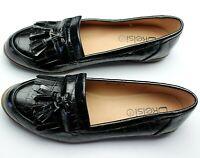 Ladies BLACK Flats Loafers Womens Slip On Tassel Office School Work Shoes Size