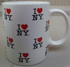 I LOVE NY NEW YORK REPEAT IN SMALL WHITE 11 OZ COFFEE CUP MUG CERAMIC HEART