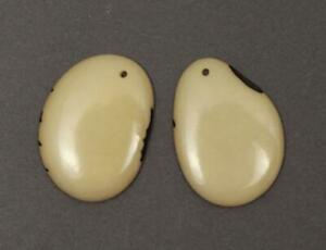 Slices Beige 40mm 2 Piece tagua beads Tagua slices For Earrings Oval