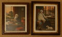 Pair of vintage prints Old Lady & Gentleman Unknown Artist Framed Glazed Art