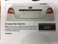 2015 2016 2017 2018 2019 Wrx & Sti Carbon Fiber Trunk Trim J121Sva100 Genuine (Fits: Subaru)