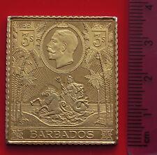 Argent plaqué or timbre LINGOT 21.74 G Danbury Comme neuf Barbados 3/- Shilling KGV KG5