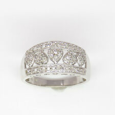 NYJEWEL 10k White Gold 0.2ct Lovely Heart Side Engraved Diamond Cocktail Ring
