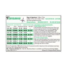 Transavia Airlines Della compagnia aerea Timetable (tabella orari) 29-03-92 to