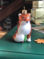 Impuls Mouth Blown Hand Painted in Poland Red Fox Christmas Ornament NIB