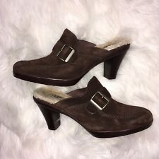 UGG Brown Suede Sheepskin LIned Mule Shoes Size 8