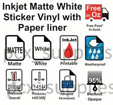 20 sheets A4 matte white Inkjet printable vinyl - free post