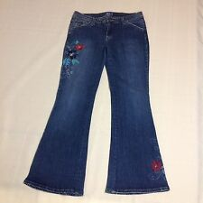 Lilu Stretch Sz 5 Women's Floral Embroidered Flare Blue Denim Jeans