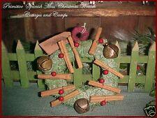 Primitive Xmas Decor Wreath Spanish Moss Cinnamon Sticks Sleigh Bells & Berries