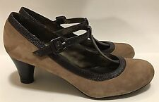 Naturalizer Light Brown Suede Leather T Strap Mary Janes Heels Shoes Sz 8 Medium