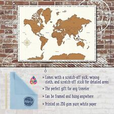 a17d53ef23 Large Scratch Off World Map Colourful Country Flag Travel Holiday Poster  86x60cm