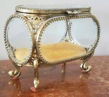 Vintage Ornate Beveled Glass Ormolu Jewelry Trinket Casket Box Gold Gilt