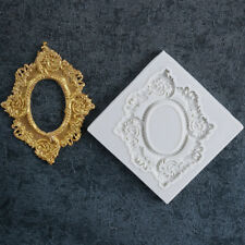 Baroque Vintage Mirror Frame Cupcake Topper Decor Silicone Mould Cake Fondant