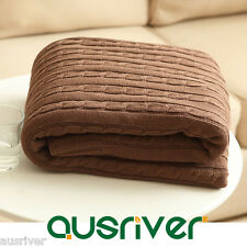 Knit Brown Throw Bed Sofa Couch Rug Cover Knee Blanket 100% Cotton
