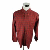 Brooks Brothers 346 Non Iron Red Plaid Long Sleeve Button Front Shirt Men's L