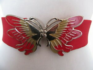 VINTAGE 1980'S RED ELASTIC CINCH BELT DECO STYLE ENAMEL BUTTER FLY CLASP