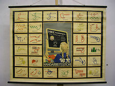 Schulwandkarte Lehrtafel Handarbeit Stiche Ketten Nähen Nähkurs 105x81 vintage