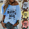 Women Funny Hippie Soul Tops Long Sleeve Printed Casual T-shirt Shirts Plus Size