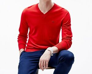 Lacoste Wool Jumper BNWT size L (5) Red V Neck Mens Sweater 100% Merino AH2987