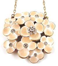 £50 Art Nouveau Gold Peach Flower Pendant Necklace Swarovski Elements Crystal