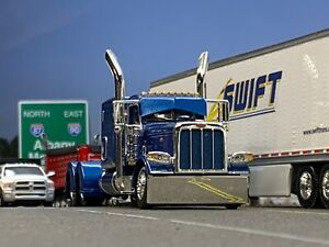 "1/64 DCP BLUE PETERBILT 389 W/ 63"" FLAT TOP SLEEPER"