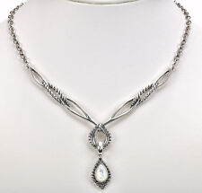 "on Sterling Silver Necklace 18""L + Carolyn Pollack White Mother of Pear Enhancer"